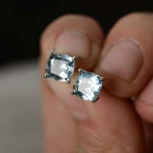 4Ct-Cushion-Cut-Aquamarine-Solitaire-Stud-Earrings-Solid-14K-White-Gold-Finish