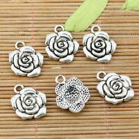 10pcs tibetan silver color rose flower charms EFF2240