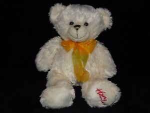 HAMLEYS-CREAM-BEAR-SOFT-TOY-YELLOW-ORANGE-RIBBON-TEDDY-COMFORTER-DOUDOU