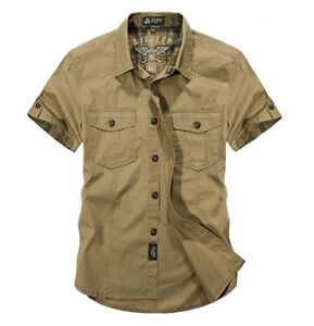Men-Military-Short-Sleeve-Shirts-Work-Cargo-Casual-Shirt-Cotton-Loose-Shirt-Tops