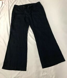 Banana-Republic-Sz-14-Navy-Blue-100-Linen-Martin-Fit-Trousers-Pants-Drawstring