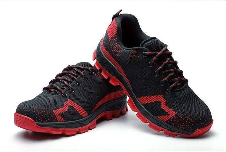 Mens Safety fashion lace up  sneaker Breathable Work Boots Hiking Climbing shoes