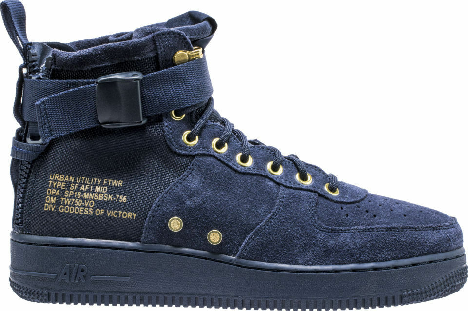 Mens SF Air Force 1 MID Casual Shoes, 917753 400 multi size Obsidian /Obsdn-blk