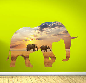 Elephant-African-Sun-Set-Vinyl-Wall-Art-Full-Colour-sticker-decal-transfer
