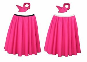 The-Dragons-Den-Neon-Pink-22-034-Rock-amp-Roll-Skirt-amp-Neck-Scarf-Set