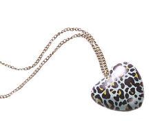 Vibrant - Blue Leopard Print Wooden Heart Pendant & Long Metal Necklace(Zx221)