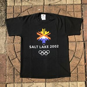 Vintage 2002 Salt Lake City Utah USA Winter Olympic Games M Medium Black T Shirt