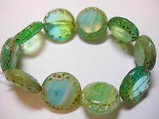 10 16mm Czech Glass Aqua Green Blend Picasso Table cut Coin Beads