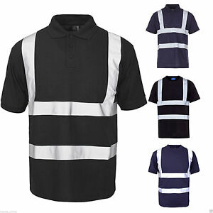 Mens hi viz visibility reflective polo t shirts security for Hi vis shirts with reflective tape