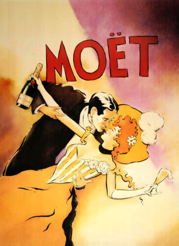 Moet Champagne Couple in Love France French Vintage Poster Repro FREE S//H in US