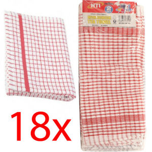 Image Is Loading 18 X Checked Terry 100 Cotton Tea Towels