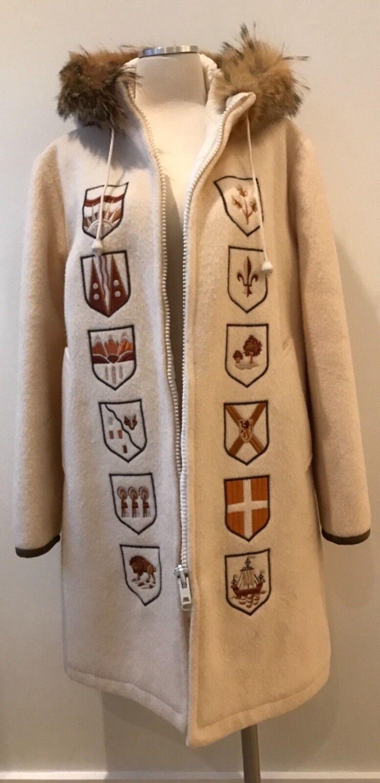 Vintage Hudson's Bay Ivory  Wool Coat Hooded Fur Fur Fur Trim Shields Large b5c57f