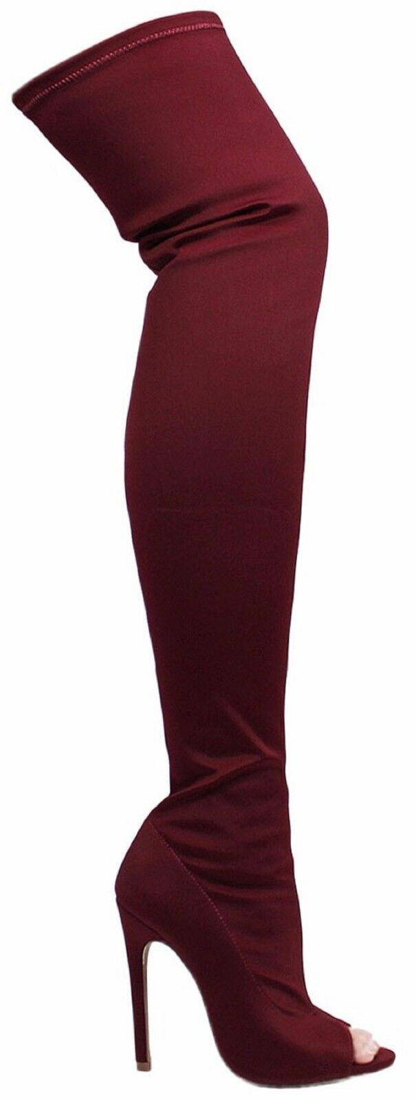 Connely-8A Thigh High Over Knee Stretchy Lycra Open Toe Stiletto Heel Boot Wine