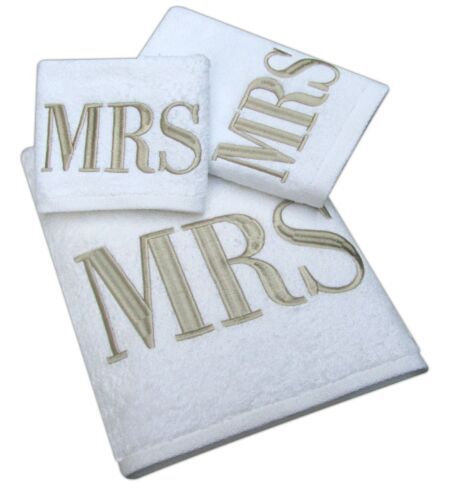 Luxury 100/% Cotton Mr /& Mrs Monogrammed Bath Towel 6 Piece Gift Bale Set