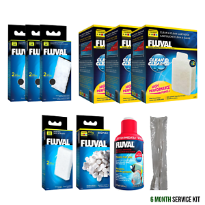 Fluval U2 Filter Service Kit (6 Months   12 Months) Carbon, Foam, BioMax, Cycle