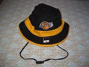 cafe4ed16cd LA LOS ANGELES LAKERS Bucket Cap TIES Adidas Hat NBA BLACK YELLOW S ...