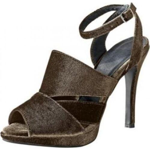 edle CHILLANY Heine Designer Samt Slingbacks Sandaletten High Heels NEU taupe