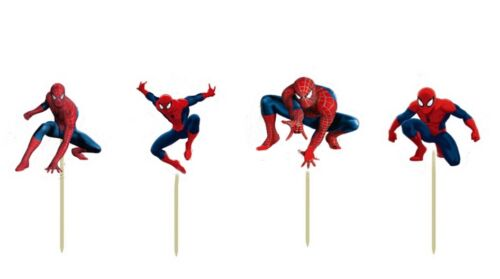 12 x Spiderman Cupcake Jelly Cup Toppers Toothpicks Boys Party Birthday Decor