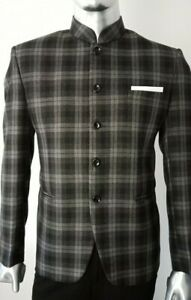 MEN-039-S-WOOL-CHECKED-BEATLES-MANDARIN-NEHRU-GRANDAD-COLLAR-BLAZER-JACKET