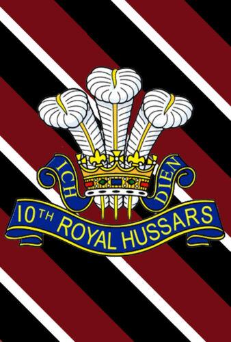 environ 17.78 cm 10TH Royal Hussars Badge Imprimé sur un métal SIGNE 5 x 7 in