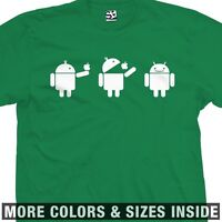 Android Eats Apple Scene T-shirt - Droid Bite Biting Strip - All Sizes & Colors