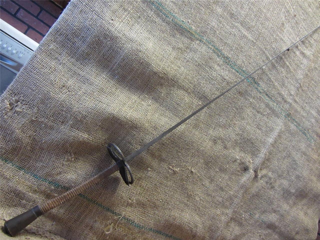 Vintage Franska Excelsior Fencing Sword Epie Antique Old Iron Brass Leather 9166