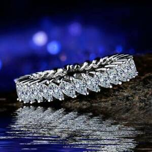 Luxury-Women-925-Silver-Rings-Marquise-Cut-White-Sapphire-Wedding-Ring-SZ-6-10