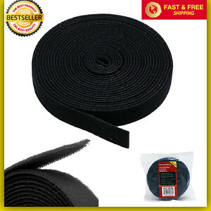 """3//4/"""" x 5 Yards 15 FT Black Self Adhesive Hook and Loop Stick On Tape Fabric Blk"""
