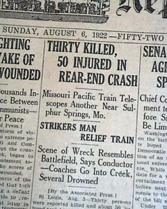 SULPHUR-SPRINGS-Jefferson-County-MO-Missouri-TRAIN-WRECK-DISASTER-1922-Newspaper