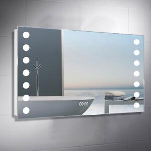 Modern Bathroom Mirror With Shaver Socket Sensor Demister Pad With