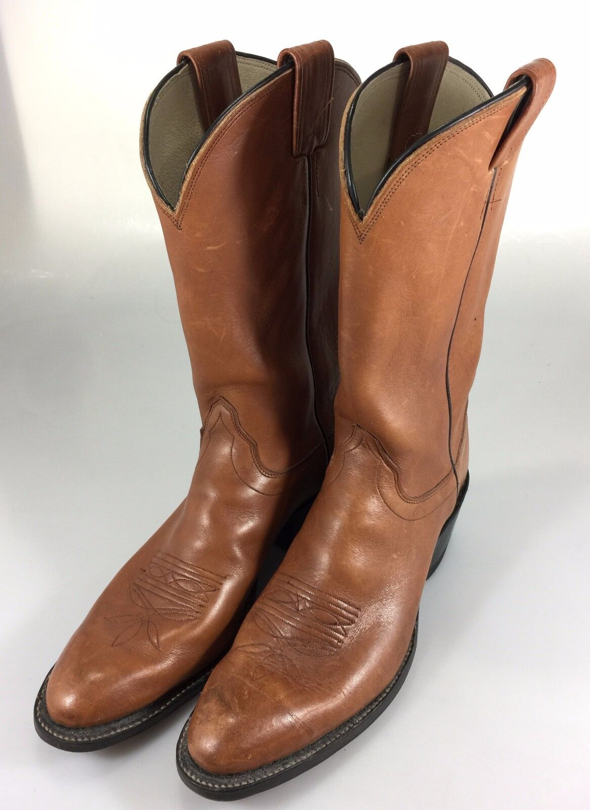 Olathe Mens 11 AAA Classic Cowboy Western Boots Brown Leather Tall 5090