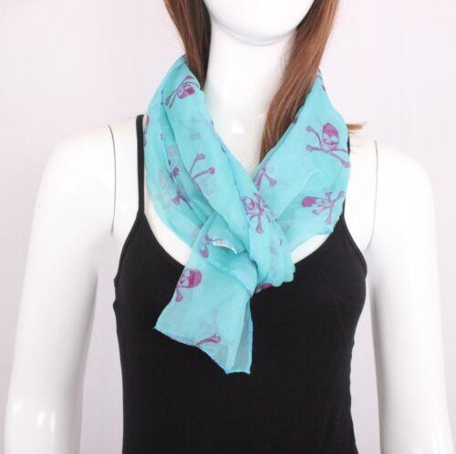 Fashion Shawl Women//Girls Baby Blue Chiffon Skull Scarf Wrap