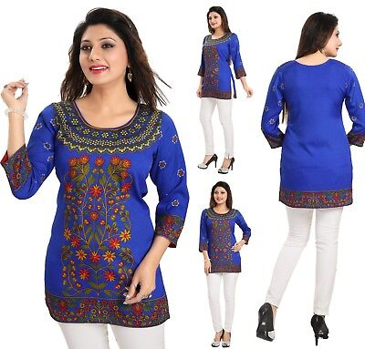 Women Indian Short 3//4 Sleeves Blue Printed Kurti Tunic Kurta Dress MI513 BLUE