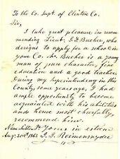 1863 Letter of Recommendation for LT. JONAS F. BAUNER, CO. B, 172nd PA INFANTRY