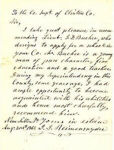 1863 letter of recommendation for lt jonas f bauner co b 172nd