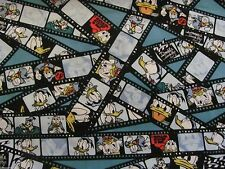 """13"""" x 43"""" DONALD DUCK SHOW* MOVIE REEL FILM CP59534 on COTTON FABRIC Bolt End"""