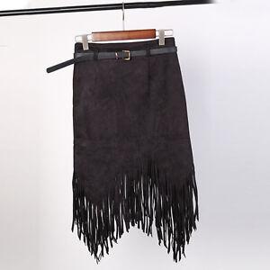 Faux-Suede-Tassel-Fringe-Bodycon-Skirt-Asymmetric-Wiggle-Pencil-Bandage-Vintage