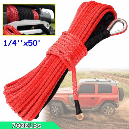 """Synthetic Winch Rope Line Cable RED Rock Guard ATV UTV SUV 1//4/"""" x 50/' 7000 LBs"""