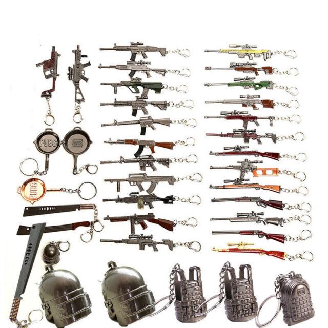 PUBG Metal Shoot Gun model Keyring Fob CSGO Game Weapon Army Style Keychain