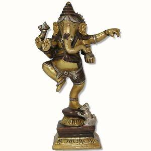 Ganesh-Statue-tanzend-Figur-Metall-16-cm-0-9-KG-Indien-Ganesha-Ganpati-Messing