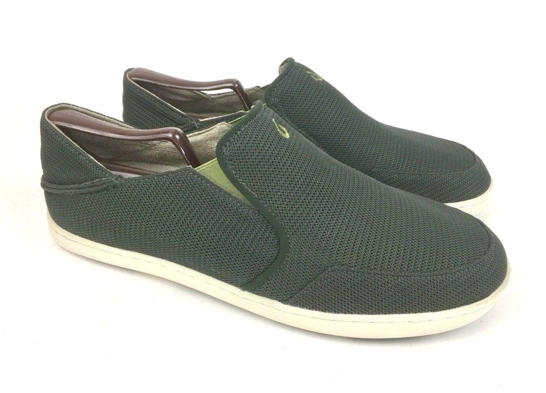 OLUKAI   Nohea Mesh Dark Green Slip On Loafers + Drop-In Heel   Men's Size 11.5