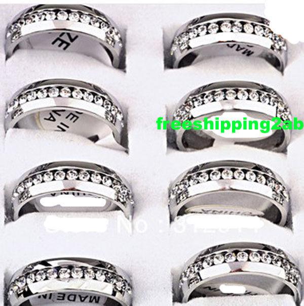 wholesale 10pcs Silver rheinstone Stainless steel Rings Wedding Band Jewelry lot