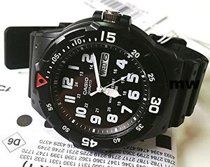 New-Casio-Men-039-s-Teens-Watch-100M-Date-Day-Quartz-Analog-Black-Rubber-MRW-200H-1B