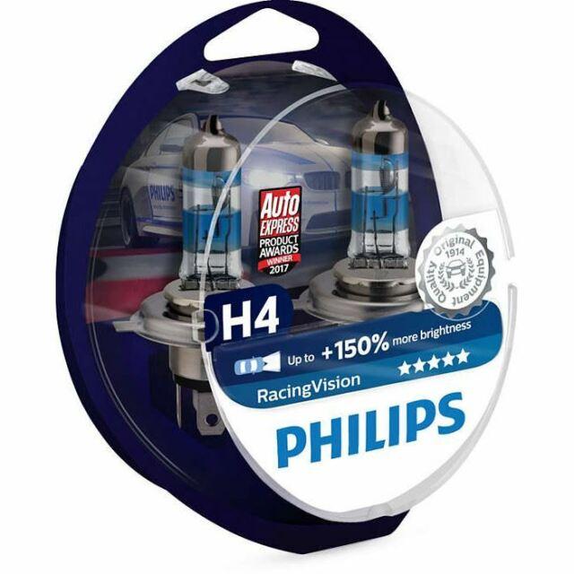 2x H4 Headlight Bulbs Philips RacingVision 12342RVS2 12V 60/55W P43t