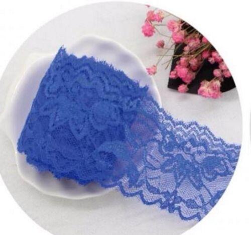 1 m  Spitze Polyester Spitzenband Lace elastisch Farbwahl Spitzenborte 5,5cm