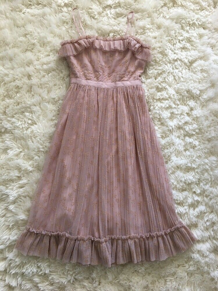 New J Crew Ruffly Tulle Dress Ashen Clay Pink Sz 00 G8605