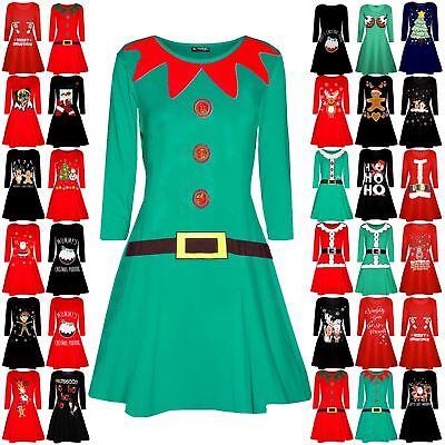 Womens Ladies Christmas Xmas Elf Santa/'s Little Helper Belt Costume Swing Dress