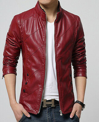 New Men's leather motorcycle jacket Slim washed leather jacket Coat outwear