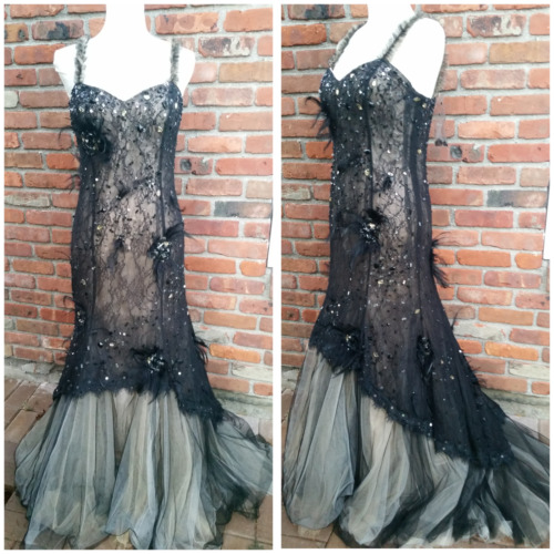 Jovani Lace Black Rhinestones Sequin Feather Gown