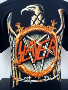 Men's Black SLAYER Screened T-Shirt Speed Metal Thrash Punk Goth Satanic